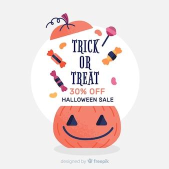 Banner mão desenhada venda de abóbora de halloween