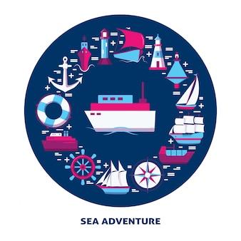 Banner marinho com ícones de navio