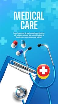 Banner médico e de saúde com sinais de mais