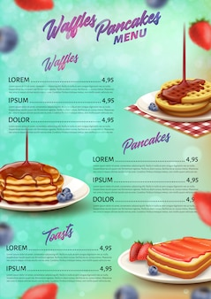 Banner menu waffles panquecas e brindes realistas.