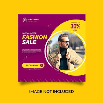 Banner minimalista do instagram para venda de moda ou modelo de postagem nas redes sociais