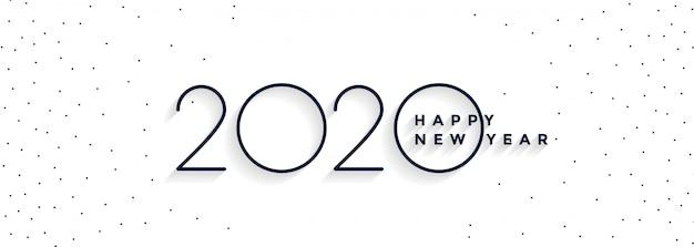Banner mínimo de feliz ano novo de 2020 branco