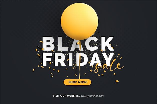 Banner mínimo de sexta-feira preta com balão amarelo realista