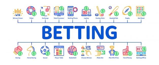 Banner mínimo infográfico de apostas e jogos de azar