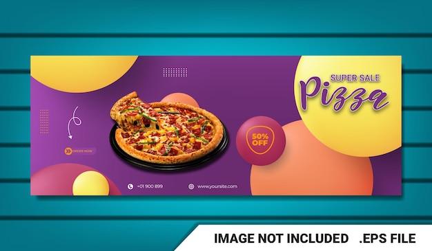 Banner modelo de capa do facebook de menu de comida com efeito de texto editável