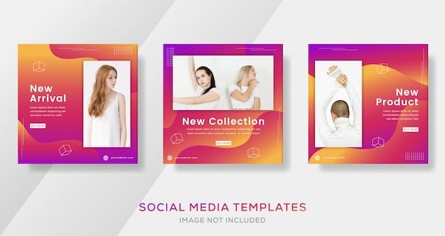 Banner moderno abstrato para post de venda de moda com gradiente de cor.