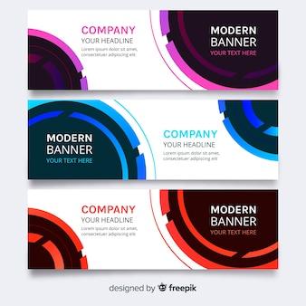 Banner moderno conjunto com círculos coloridos