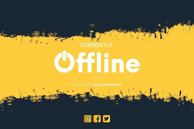 Banner moderno de contração atualmente offline com pinceladas
