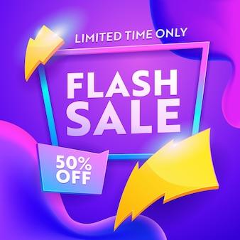 Banner moderno de desconto de venda flash em tamanho quadrado