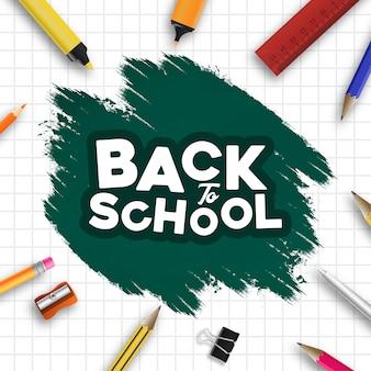 Banner moderno de escola de volta com respingos de tinta