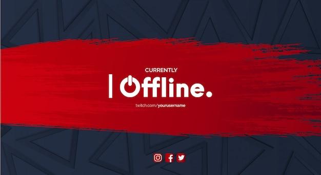 Banner moderno do twitch com respingo vermelho