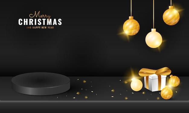 Banner moderno e preto no pódio de feliz natal e feliz ano novo com caixa de presente e bola de brilho dourado