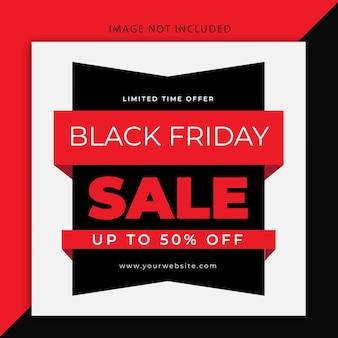 Banner moderno editável na web em preto na sexta-feira com as cores preta e vermelha e modelo de postagem nas redes sociais