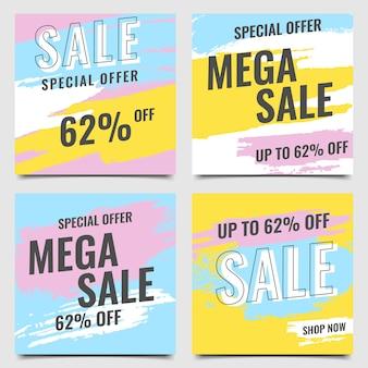 Banner moderno mega venda escova colorido azul amarelo rosa conjunto vector