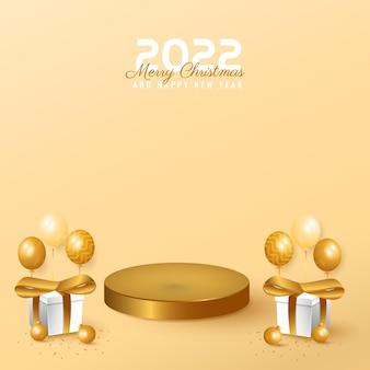 Banner moderno mínimo de 2022 feliz ano novo e feliz natal com pódio, caixa e balão