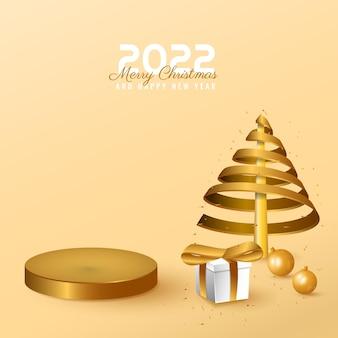 Banner moderno, mínimo de 2022 feliz ano novo e pódio de feliz natal com caixa, árvore e bola