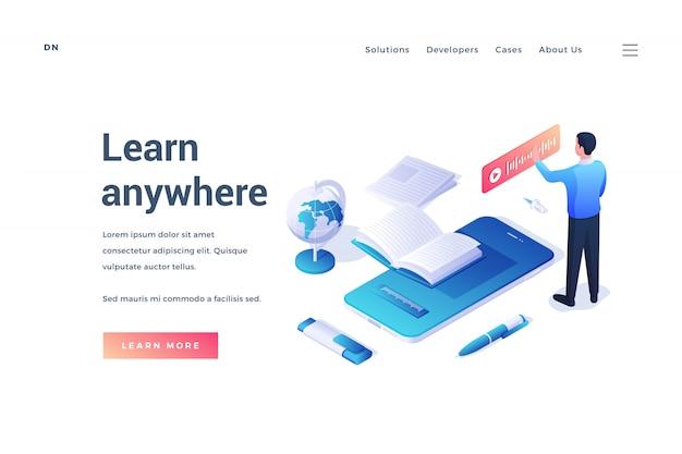 Banner moderno que promove recursos online para educação