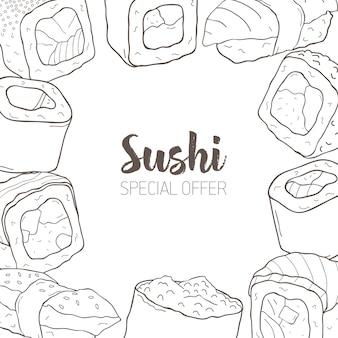 Banner monocromático com moldura consistia em diferentes tipos de sushi japonês e rolos desenhados à mão com linhas de contorno.