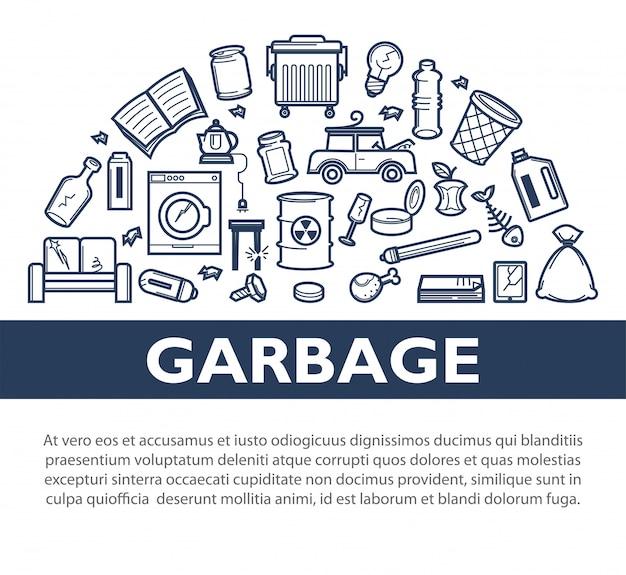Banner monocromático informativo promocional de lixo com texto de exemplo