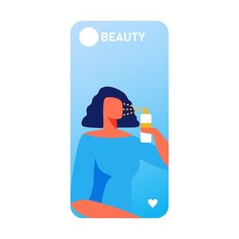 Banner móvel de beleza com mulher usando nano spray