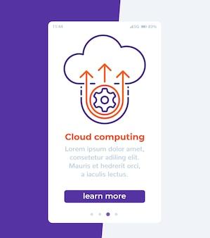 Banner móvel de computação em nuvem com ícone de linha