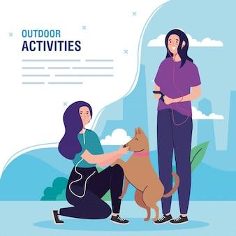 Banner, mulheres realizando atividades ao ar livre de lazer, mulheres com design de ilustração de animal de estimação cachorro