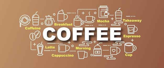 Banner na moda de vetor de café