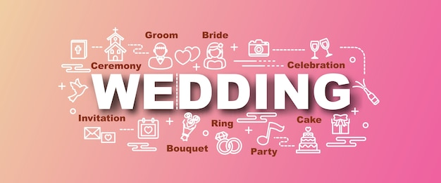 Banner na moda de vetor de casamento