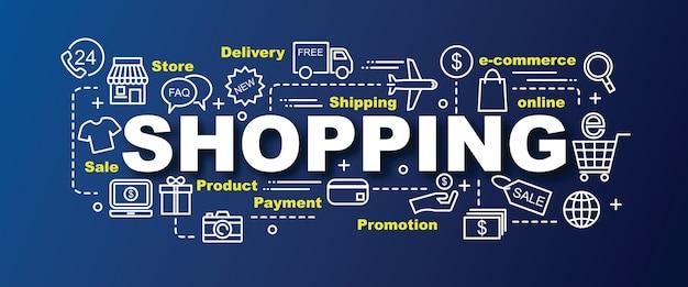 Banner na moda de vetor de compras