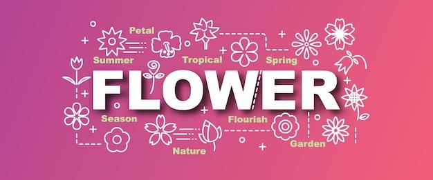 Banner na moda de vetor de flor