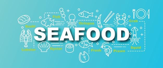 Banner na moda de vetor de frutos do mar