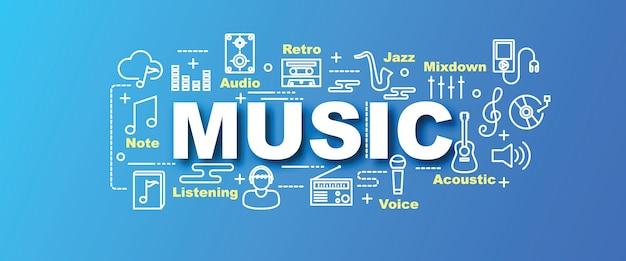 Banner na moda de vetor de música