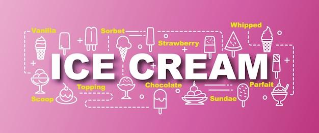 Banner na moda de vetor de sorvete