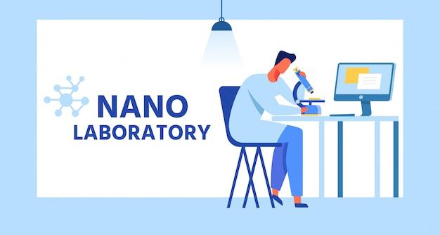 Banner nano de desenhos animados de laboratório com moldura plana. v