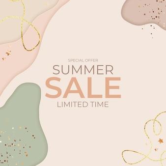 Banner natural de venda de verão com corte de papel