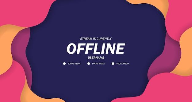 Banner offline twitch para jogos ou transmissão ao vivo com líquido