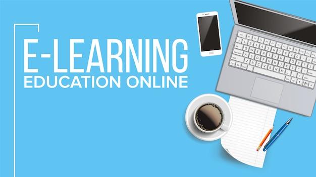 Banner on-line de educação on-line, e-learning