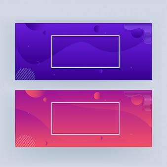 Banner ondulado geométrico abstrato na opção de cor gradiente dois.