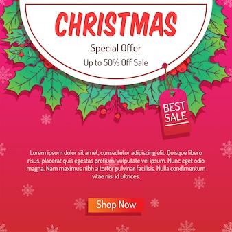 Banner online de natal colorido com grande venda ou venda de compras