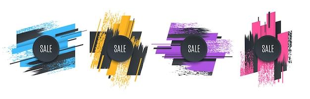 Banner original de promoção plana, histórico de vendas, etiqueta de preço