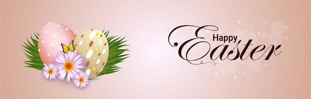 Banner ou cabeçalho de celebração de páscoa feliz