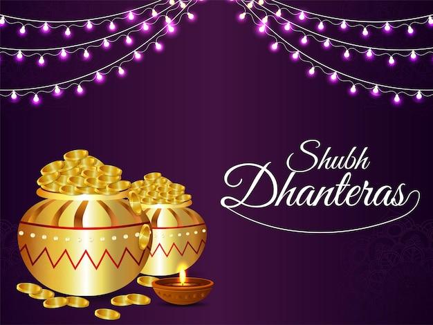 Banner ou cabeçalho de celebração de shubh dhanteras