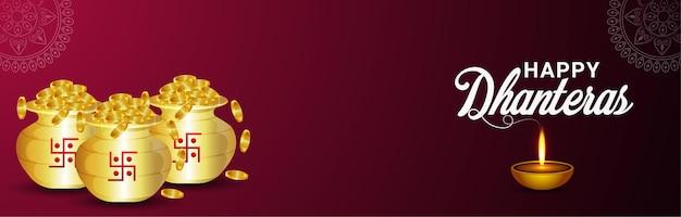 Banner ou cabeçalho de celebração do feliz festival indiano dhanteras com pote de moedas de ouro