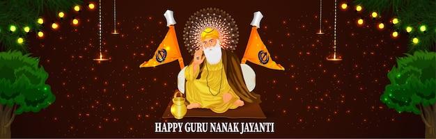 Banner ou cabeçalho de guru nanak jayanti feliz