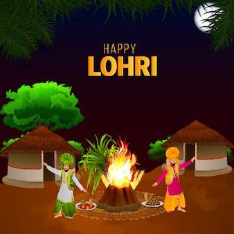 Banner ou cartão de comemoração feliz da lohri