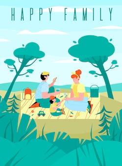 Banner ou cartaz com uma família feliz, fazendo um piquenique na natureza em um dia de verão ou primavera.