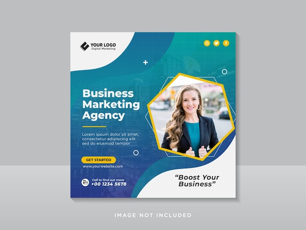Banner ou flyer quadrado de marketing empresarial digital