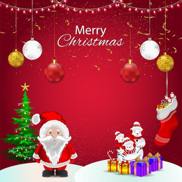 Banner ou hader de natal com papai noel e bolas de gelo e decorações com presente ou luzes
