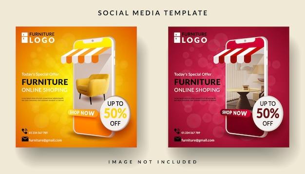 Banner ou mídia social postar compras on-line no aplicativo móvel