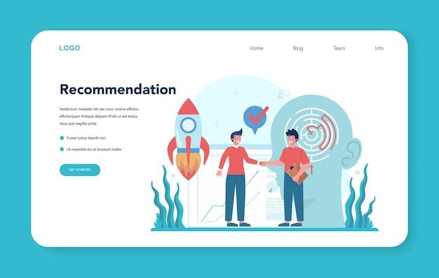 Banner ou página de aterrissagem de consultoria profissional. pesquisa e recomendação.